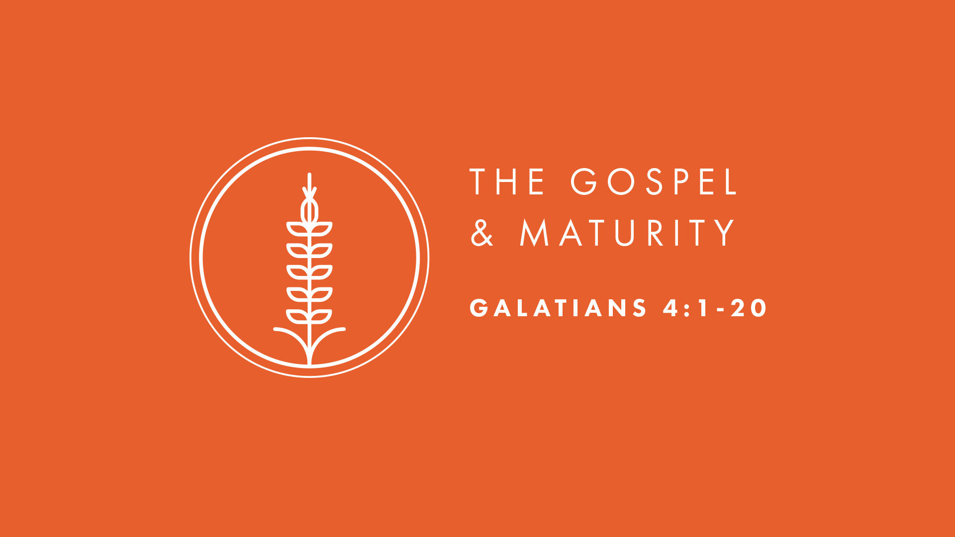 The Gospel and Maturity